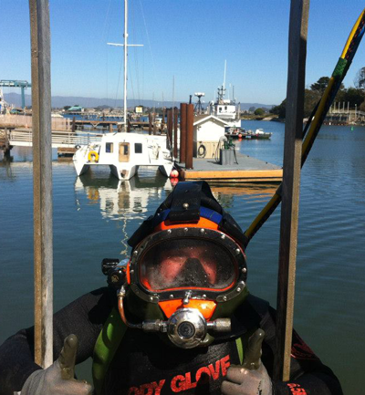 Monterey Bay Diving - Commercial Diver on Ladder